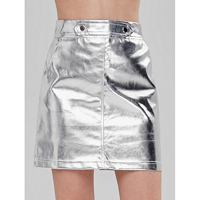1376850362 ZAFUL Mini Metallic Skirt