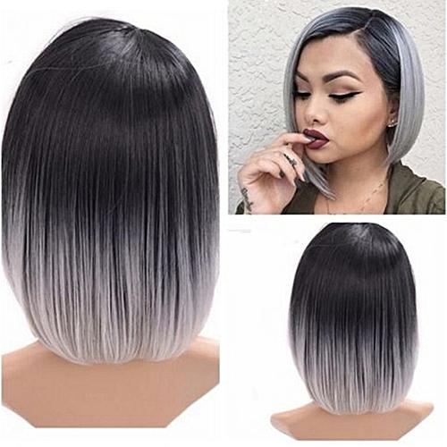 Lady Fashion Bob Straight Gradient Color Short Wig