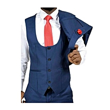 Men's Royal Blue 3 Pcs Formal Wedding Dress Suit
