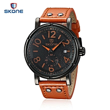 9429EG Men Quartz Watch Date Display Seconds Dial Leather Band Wristwatch with Case-LIGHT BROWN