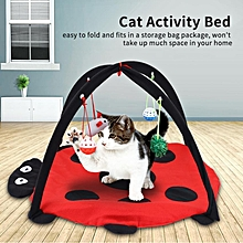 Foldable Cat Activity Play Mat Tent Multifunction Pet Bed With Hanging Toy Balls