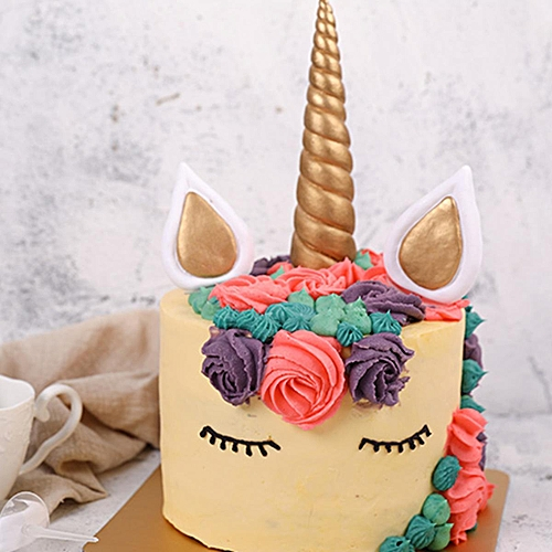 Gold Silver Unicorn Horns Ears Cake Topper Birthday Decoration Party Set