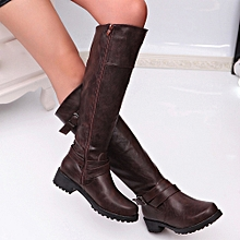 Women Round Toe Mid Calf Boots Matte Leather Knight Boot Buckle Square Footwear- Brown -CN SIZE
