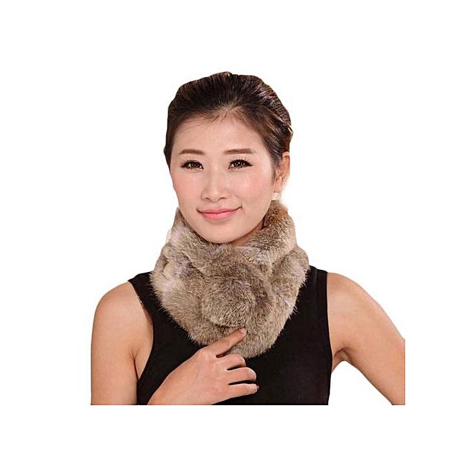 c4fc33e8762 Hiaojbk Store Women Winter Scarf Lady Casual Fur Scarves Fur Ball Velvet  Scarf Khaki-Khaki