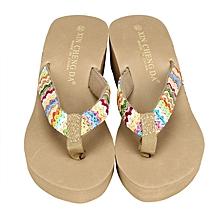 Summer Platform Sandals Beach Flat Wedge Patch Flip Flops Lady Slippers KK/36