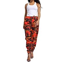 jiuhap store Women Sports Camo Cargo Pants Outdoor Casual Camouflage Trousers -Orange