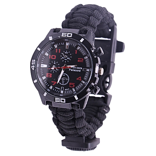 5 in 1 Outdoor Survival Watch Paracord Bracelet with Compass/Fire Starter/Whistle/Paracord Emergency Survival Tool Kits - black