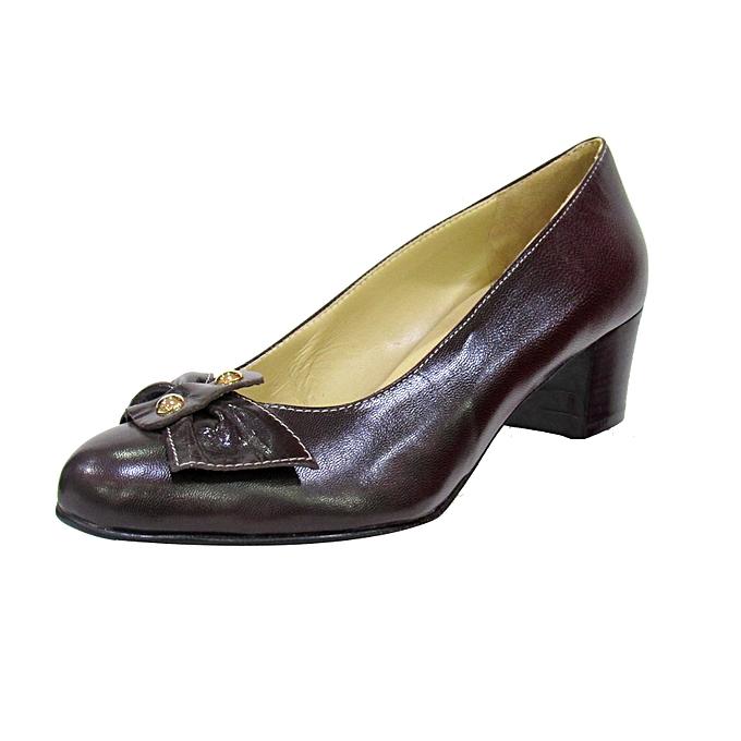533b1b9b4b Melia Coffee Brown Low Heel Ladies Shoe   Best Price