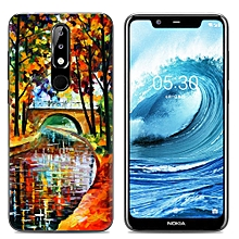 Nokia 5.1 Plus/Nokia X5 (3PCS X Phone Case) Silicone Case TPU Anti-knock Phone Back Cover - Multi-color(Stone Bridge Oil Painting+Watercolor Dream Catcher+Flowers)