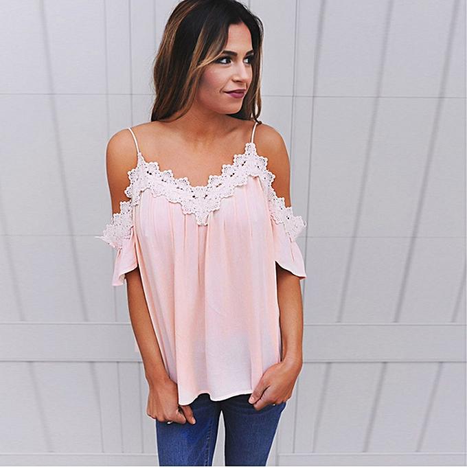 1d6a4319948a1c Hiaojbk Store Women Off Shoulder Tops Short Sleeve Lace Casual Blouse T  Shirt-Pink