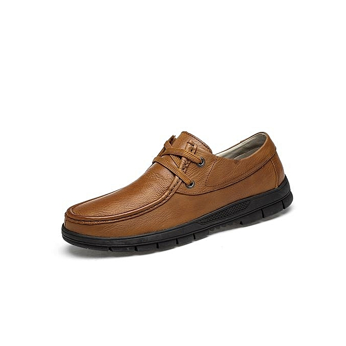 Formal Office Shoes Men Grain Full Leather Casual Brown