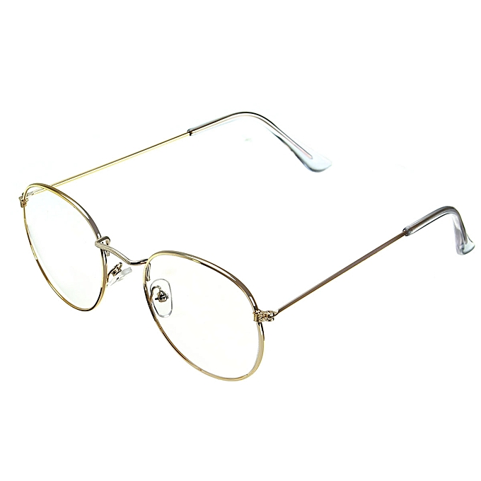 1bc11b502c Retro Vintage Oval Gold Eyeglass Steel Legs Clear Full-Rim Frame Spectacles