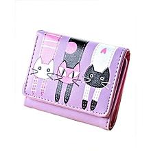Women Lovely Cats Leather Wallet -Purple