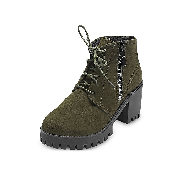 819d7558ef86 Trendy Round Toe Lace-up Chunky Heel Women Ankle Boots - ARMY GREEN