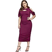 Women Sexy Slim Midi Dress - Wine Red