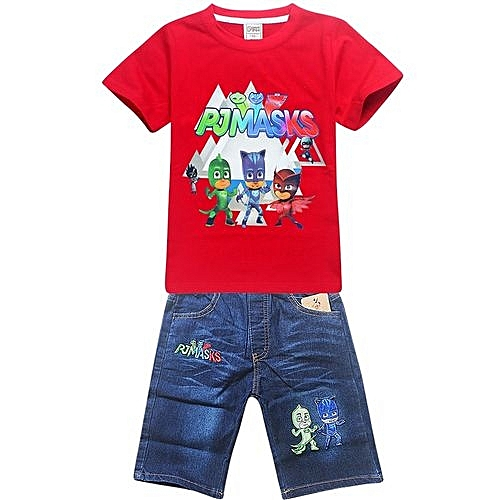 bc63bfcc4e9 UNIVERSAL 1-10 Yrs Boy Girls  2 Pieces Cotton Jeans Pant + T-shirts  (Color Red)