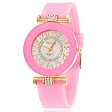 New Fashion Silicone Bling Crystal Quartz Watch Women & Girls(Pink)