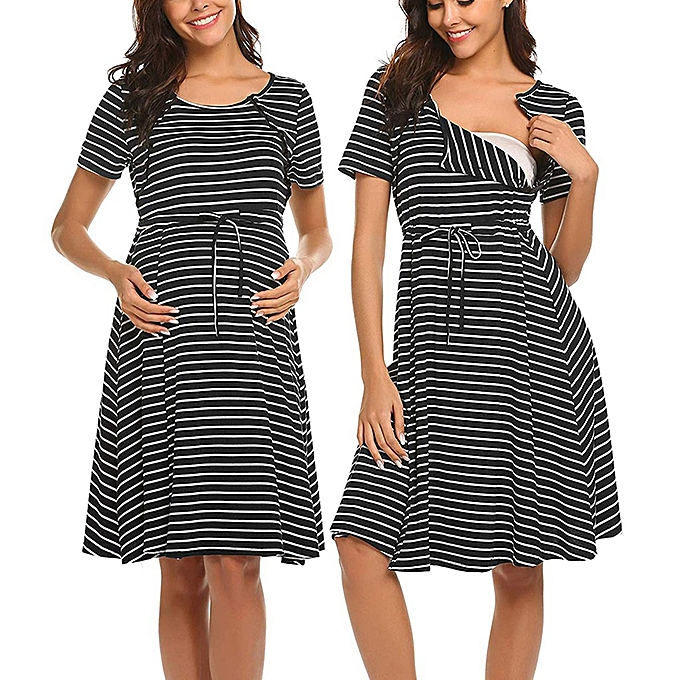 075439425797 Women Maternity Short Sleeve Stripe Nursing Nightdress Breastfeeding Dress