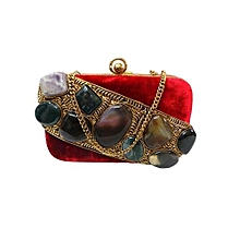 Velvet Box Clutch with Dynamic Stone Brooch - Maroon