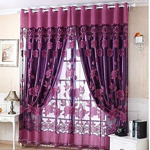 Fohting 250cmx100cm Print Floral Voile Door Curtain Window Room Curtain Divider Scarf  - Purple