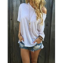 Fashion Women's Loose Casual Tops Blouses Off Shoulder Gown Cotton Short Sleeve T-shirt