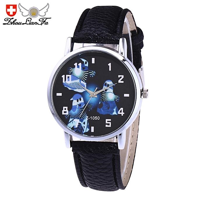 halloween ghost unisex quartz leather analog wrist simple watch round case watch black