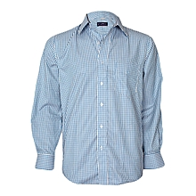 White & Blue Checked Long Sleeved Shirt