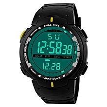 Fashionable Male LED Digital Date Military Sport Rubber Quartz Watch Alarm Waterproof-Yellow