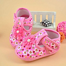 8ea6d937867 Baby Flower Boots Soft Crib Shoes- Pink