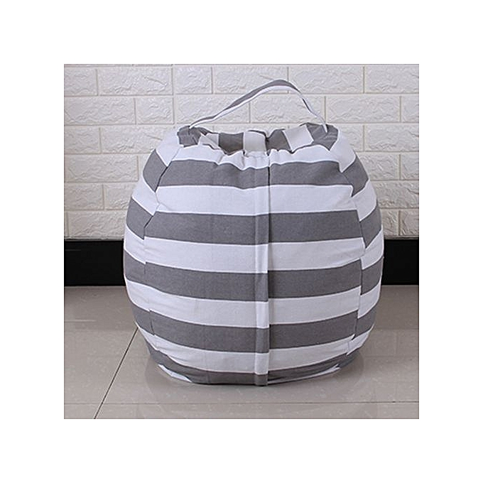 Kids Stuffed Animal Plush Toy Storage Bean Bag Soft Pouch Stripe Fabric Chair Gy