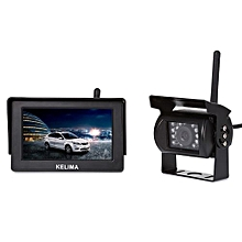 088 Wireless Car 18 IR LEDs Rearview Camera + 4.3 Inch Screen Display-BLACK