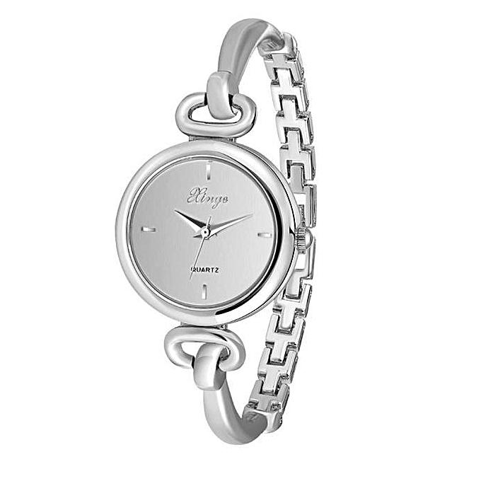 Xiuxingzi Women Silver Rhinestone Bangle Watch And Bracelet Set 590s