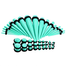36PCS KIT Ear Stretching Acrylic TAPER & PLUG Red O-Ring Ear Piercing Expander Turquoise Green