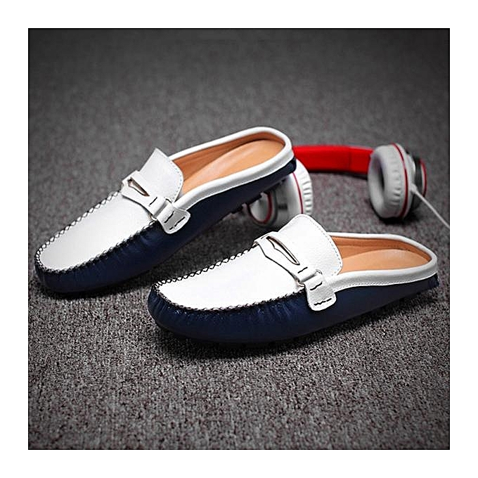 2927a8cbcce ... Fashion Men British Style Color Blocking Flat Slip On Casual Backless  Loafers-EU