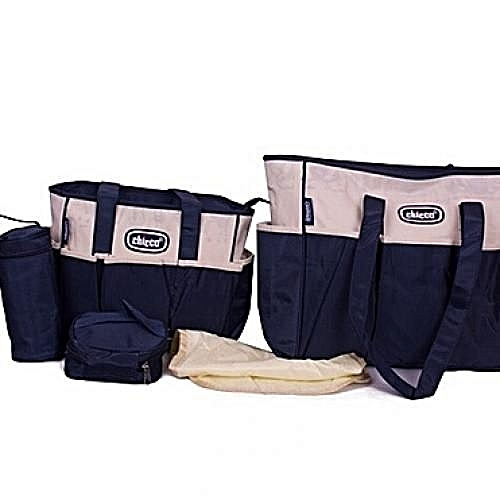 5 Piece Diaper Bag Beige Navy Blue