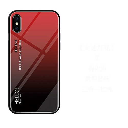 buy online d4248 17720 For IPhone XS/X Case,Ultra Thin Slim Shockproof Protective TPU Bumper Case  + Hard Back Tempered Glass Grip Cover For IPhone X/XS 5.8 Inch (Red)
