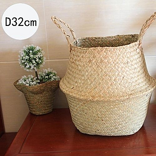 Folding Flower Pot Straw Basket Storage Baskets Flower Vase Hanging Baskets  Home Storage Basket Garden Pot