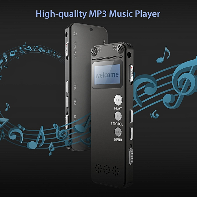 Voice Recorder 8GB Digital Audio Sound Recorder Dictaphone Digital Voice  Activated Recorder with MP3 Player Dual Microphone PATEL