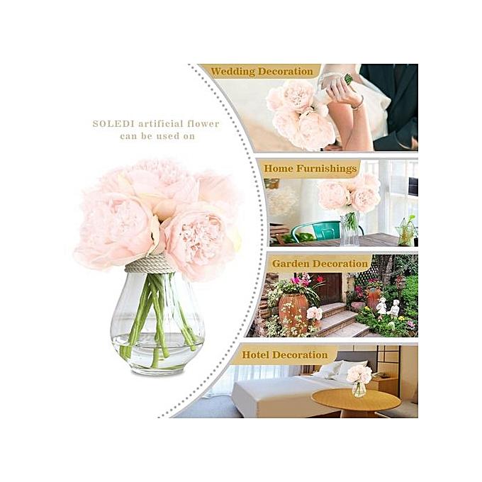 Silk Peony Bouquet 5 Heads Artificial Fake Flower Bunch Bouquet Bridal Bouquet Wedding .