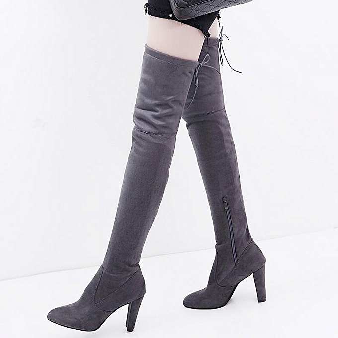 2ad3f74254b Women Long Stretch Over The Knee Boots Thigh High Heeled Boots Zipper Lace  Shoes