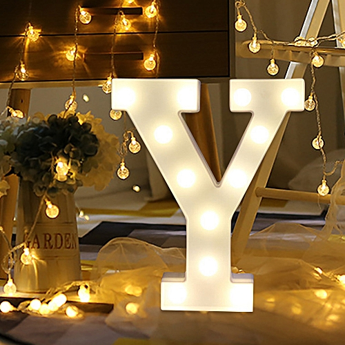 Muyi Alphabet Led Letter Lights Light Up White Plastic Letters Standing Hanging Y