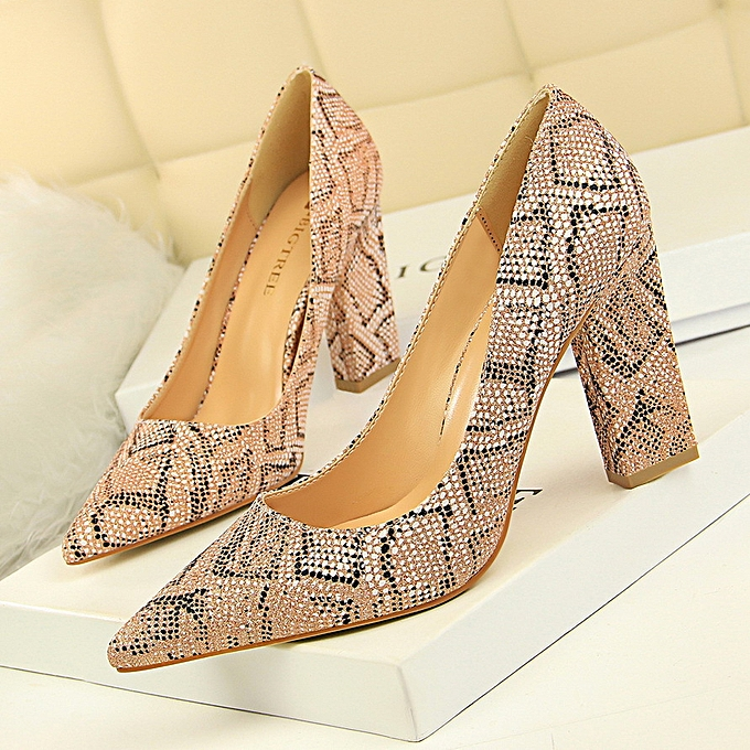 2775732081 Women Retro Fashion Shoes Thick With High Heel Shallow Mouth Pointed Sexy  Nightclub Was Thin Snake