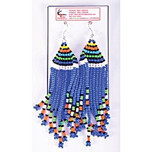 African Themed Parliament Blue Earrings