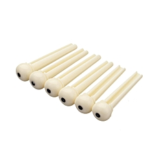 Plastic Ivory Guitar Bridge Pins for Acoustic Guitar String End Peg Pack of 6
