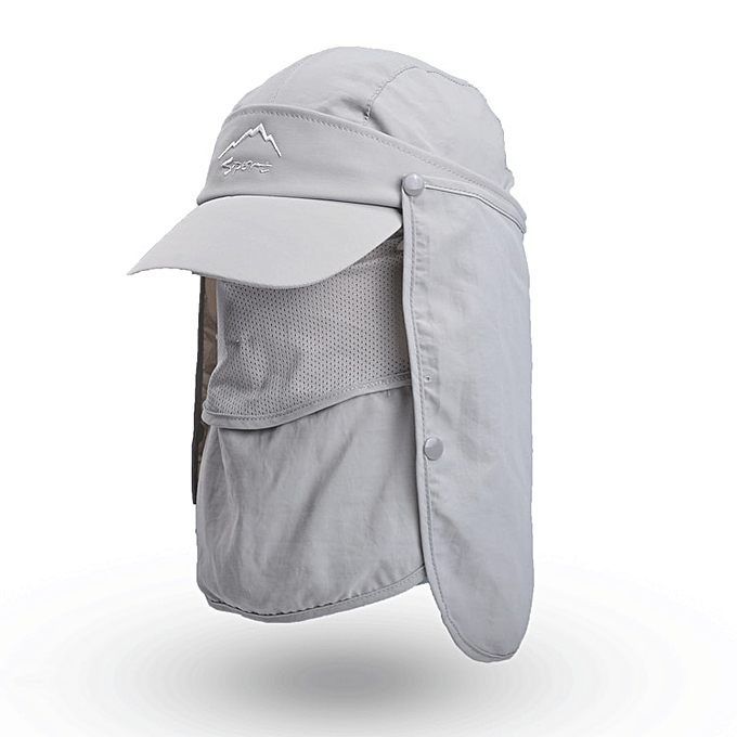 a45f2a937 Women Mens Summer Sun Hats UV Protection Hiking Fishing Sun Visor Caps  Folding Removable Flap Boonie Hat Neck Face Mask WH107(Gray)