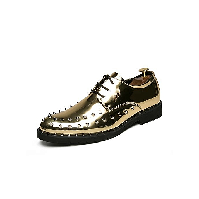 9f89f9f28c Fashion Rivet Formal Shoes Men Casual Leather Shoes -Gold   Best ...