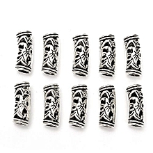 10x 5mm Hole Tibetan Style Silvery Flower Dreadlock Braiding Hair Bead Tube Cuff