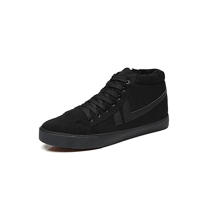 384238905d8eeb Fashion Men s plus velvet padded cotton shoes high-top tie casual ...