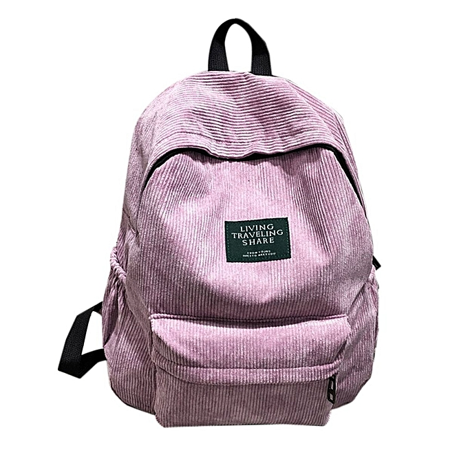 9d61081ef8f0 CO Simple Velvet Backpack Large Capacity Back Bag Unisex School For  Teenagers-Pink