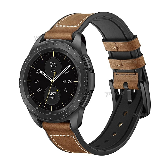 20mm 22mm Quick Release Soft Genuine Leather Silicone Watch Band Strap For Samsung Galaxy Watch 46mm 42mm Smart Watch Brown For Galaxy Watch 42mm